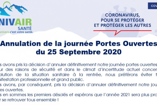Annulation de la journée Portes Ouvertes du 25 Septembre 2020